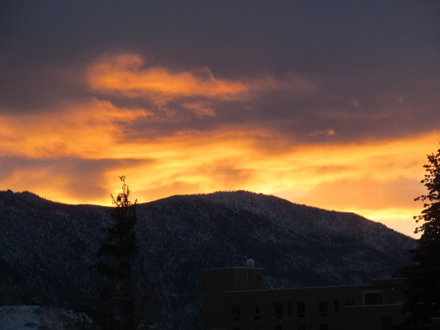 This is a photo of the sun rising over the Continental Divide from Butte, MT on December 17, 2012.