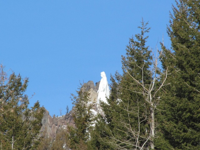 Our Lady of the Rockies, a tribute statue to the Mother Mary,    A northerly view of her on the East Ridge Trail, Continental Divide, Butte, MT.